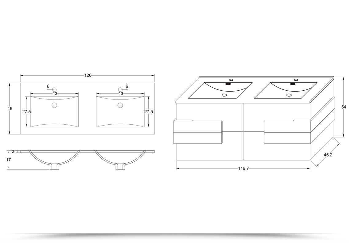 Mobile bagno energy 120 cm marrone con inserti bianchi doppio lavabo con specchio - Mobile bagno misure ...