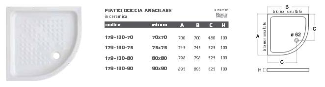 Piatto Doccia Angolare in Ceramica Roca in diverse Misure df