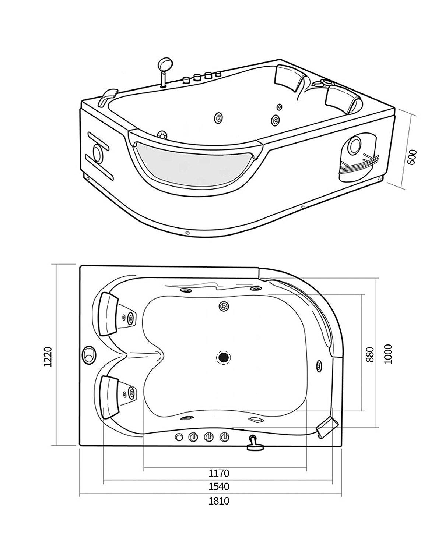 Vasca idromassaggio angolare 180x120 nera 9 getti - Vasca da bagno angolare misure ...