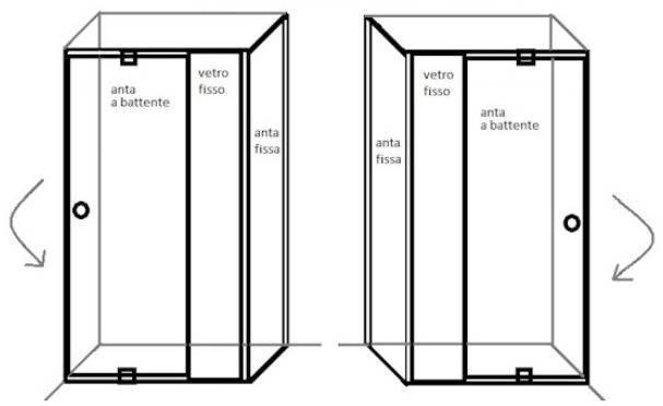 Box doccia con porta battente e anta fissa con altezza che va da 185 ...
