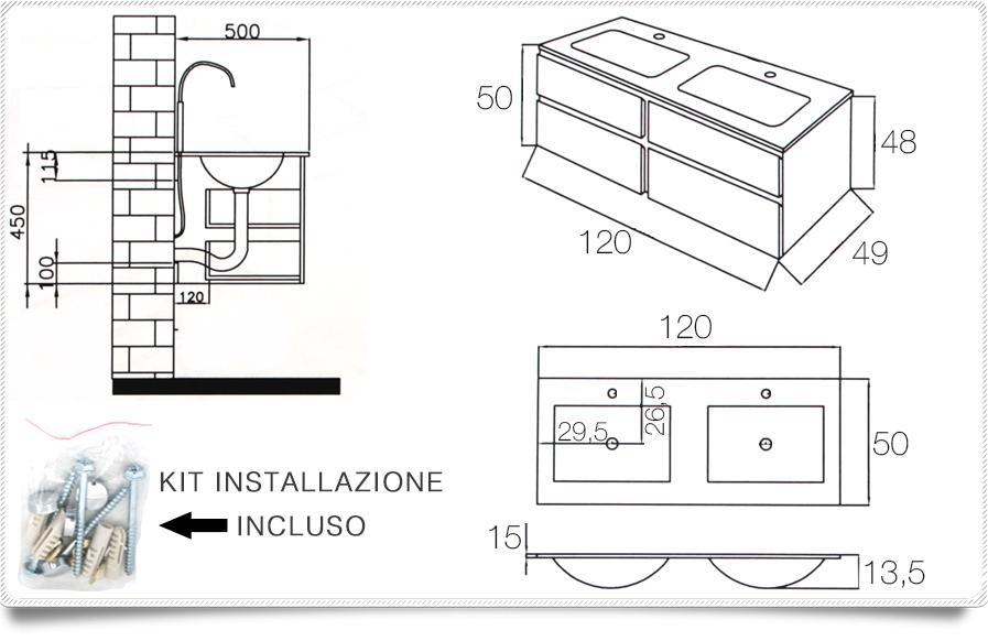 Arredo bagno black mobile moderno doppio lavabo br - Mobile bagno misure ...
