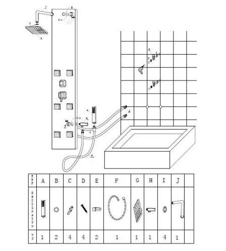 Colonna doccia idromassaggio in alluminio con specchio - Doccia con tubi esterni ...
