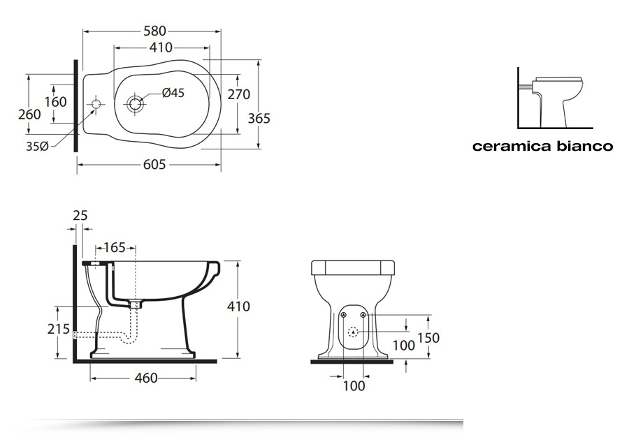 Bidet con water serie classica scarico a pavimento o parete opzione lavabo con colonna - Misure scarichi bagno ...