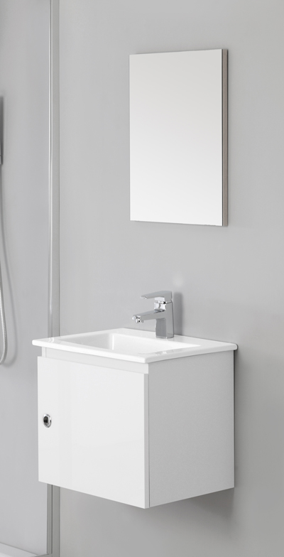 arredo bagno mobile cm 50 bianco laccato con lavabo in ceramica br. Black Bedroom Furniture Sets. Home Design Ideas
