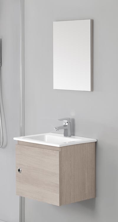 arredo bagno mobile cm 50 bianco laccato con lavabo in ceramica br - Lavabi Con Mobile