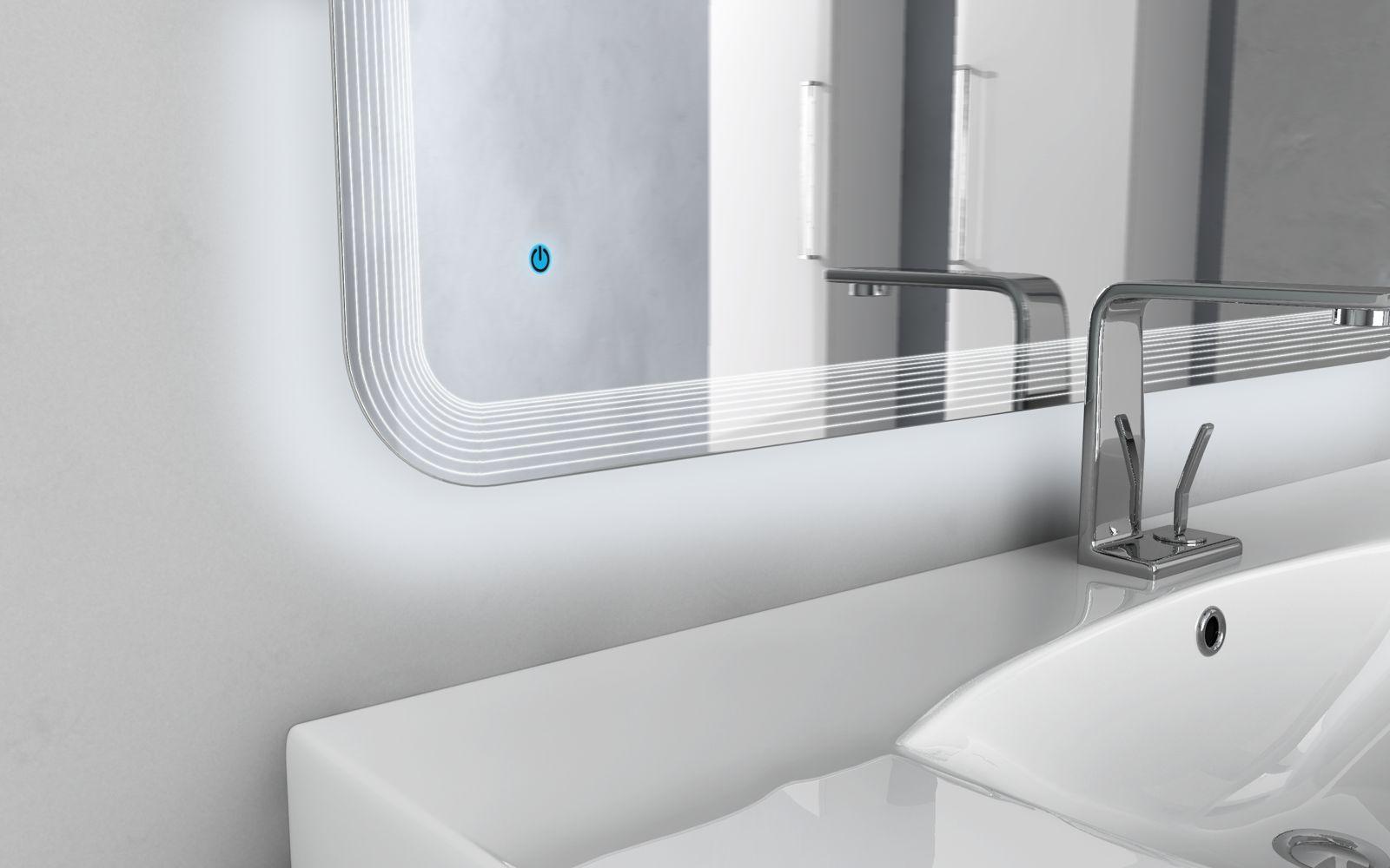 Specchio specchiera a led da bagno arredo 90x60 x74 x100 x120 accensione touch 2 ebay - Specchiera bagno blu ...