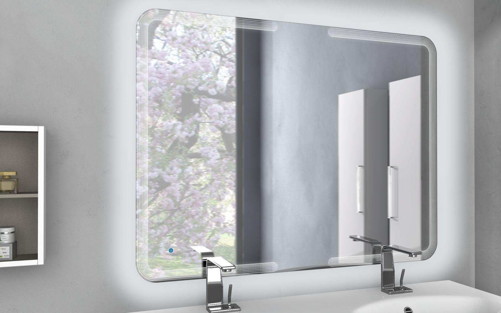 Specchio specchiera da bagno arredo a led 90x60 90x74 90x100 90x120 con touch su ebay - Specchio bagno moderno ...