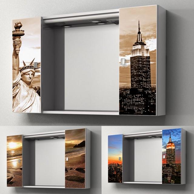 Specchiera contenitore da bagno yellow 94x60hx17 cm specchio centrale ante con stampa - Specchio con ante per bagno ...