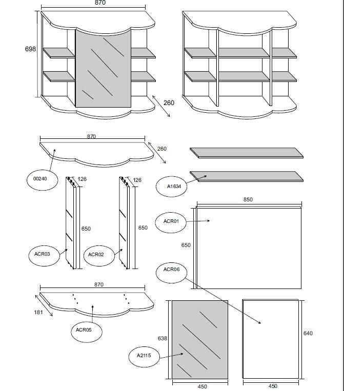 specchiera da bagno con contenitore, modello acri bh - Fino A Che Punto Deve Essere Uno Specchio Sopra Un Lavandino