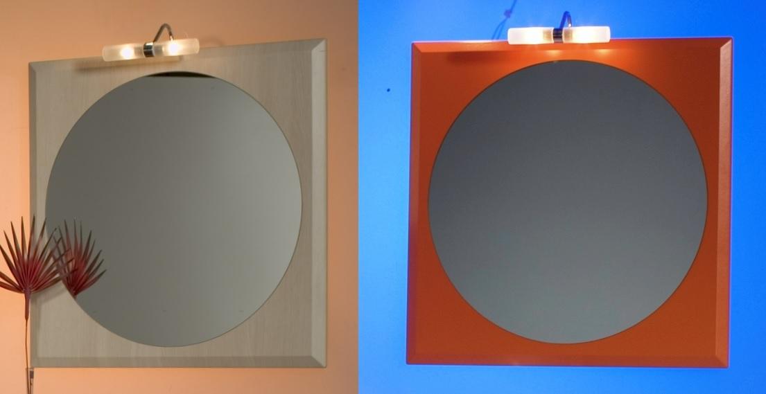 Specchiera specchio da bagno legno lucido vetro rotondo