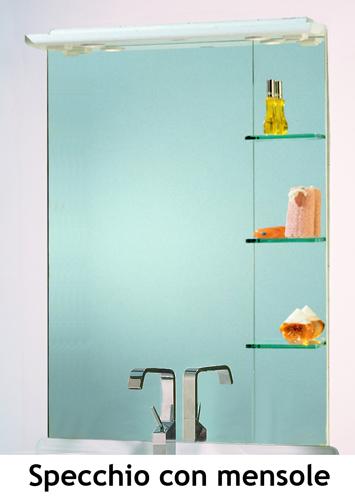 Mobile bagno cleo 90 bianco completo con lavabo in ceramica bh - Specchio con mensola bagno ...