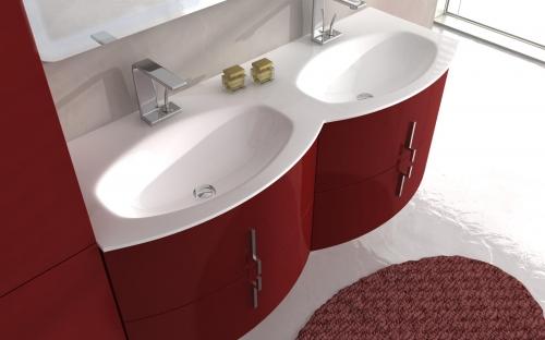 Mobile bagno moderno sting 69 cm in 4 colori arrotondato bh - Mobile bagno rosso ...