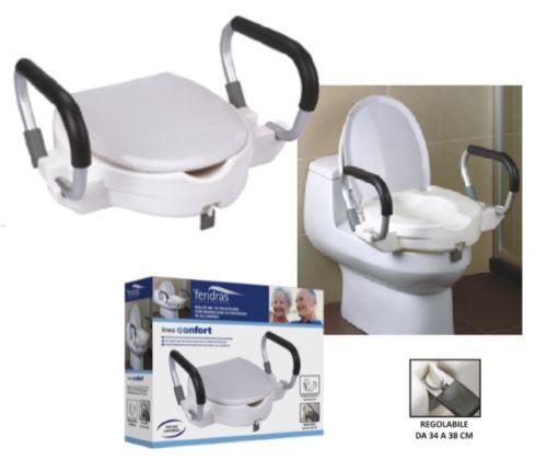 Tavoletta con rialzo per wc universali con maniglioni per sostegno - Tavoletta bagno ...