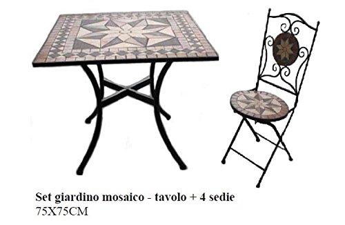 Arredo per esterno tavolino con mosaico 2 sedie in ferro battuto ...