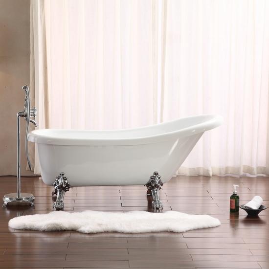 Vasca da bagno freestanding con piedini cromati 170x75xh75 - Vasca da bagno piedini ...