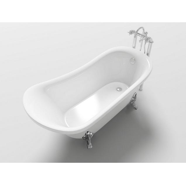 Vasca da bagno ovale freestanding 160x72x75 stile classico con piedini cromati vs053 - Vasca da bagno ovale ...