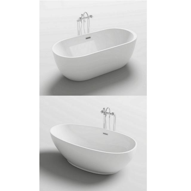 da bagno ovale freestanding 170x80 o 180x90 stile moderno bianca VS054