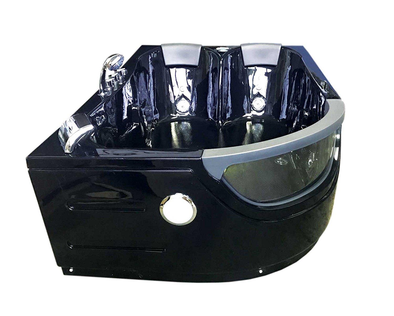 Vasca idromassaggio angolare 180x120 nera 9 getti idromassaggio radio fm cromoterapia si - Rubinetteria bagno nera ...
