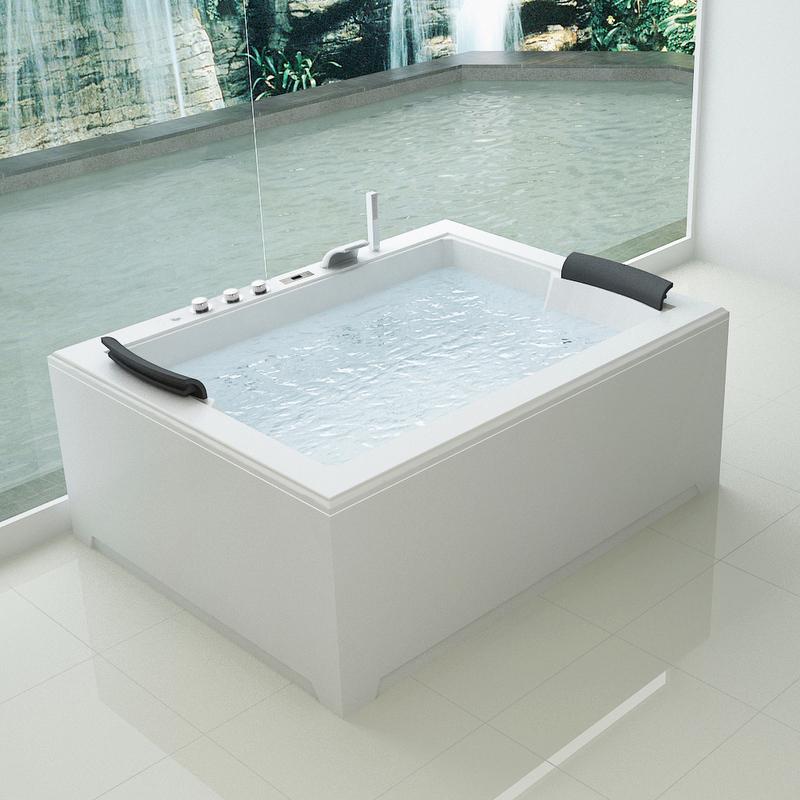 Vasca idromassaggio 180x141 per due persone full optional con 32 getti riscaldatore ozonoteapia - Vasca da bagno doppia ...
