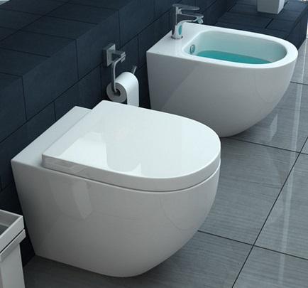 WC e Bidet a terra in ceramica con copriwater chiusura soft-close ...