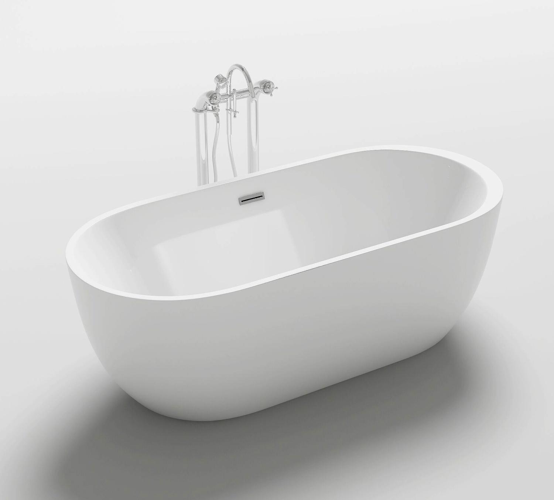 Vasca da bagno ovale freestanding 170x80 o 180x90 stile moderno bianca vs054 - Stendino da vasca da bagno ...